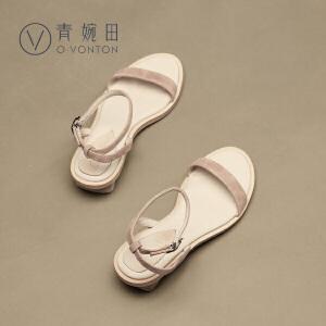 青婉田一字扣凉鞋女夏中跟露趾粗跟方跟文艺简约休闲鞋女鞋羊�S皮
