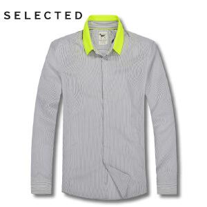 思莱德男士荧光翻领长袖纯棉细条纹衬衫2-1-7-413205007100