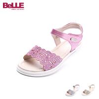 百丽Belle童鞋韩版女童凉鞋夏季新款儿童凉鞋中大童公主鞋水钻时装凉鞋 DE0374