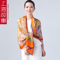 上海故春季新款事韩版女款桑蚕丝女长款围巾披肩夏季空调披肩