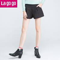 Lagogo拉谷谷冬季新款黑色秋冬女装高腰短裤裤子FDKK13M552