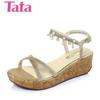 Tata/他她夏季专柜同款金布坡跟舒适女凉鞋2X310BL6