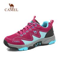 camel骆驼户外登山徒步鞋 女士新款 低帮系带防滑减震反绒皮徒步鞋