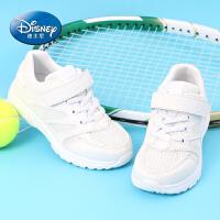 迪士尼童鞋 男童运动鞋2017年春秋季6-15岁针织网面透气儿童休闲户外鞋女童跑步鞋小白鞋