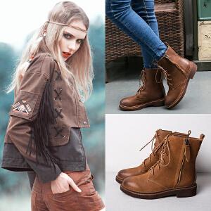 玛菲玛图秋冬欧美粗跟短靴英伦风复古马丁靴女潮骑士靴女厚底靴子1561-3S