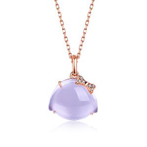 佐卡伊 樱桃小丸子18K金紫晶吊坠镶钻石彩色宝石吊坠
