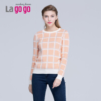 Lagogo/拉谷谷冬新款圆领修身格子印花长袖针织衫EDI534H522