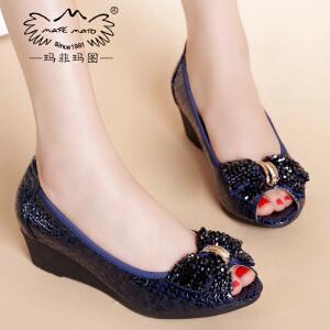 玛菲玛图春夏清仓女鞋真皮坡跟蝴蝶结中跟时尚单鞋工作鞋3828A-44