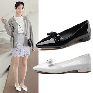 阿么2017春季新款尖头浅口低跟女鞋子日系漆皮小皮鞋粗跟休闲单鞋