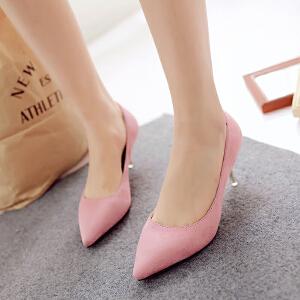 【包邮】2016女鞋性感高跟鞋春欧美新款潮时尚欧洲站细跟尖头浅口绒面单鞋128-2ZZM支持货到付款