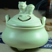新款陶瓷工艺品摆件 招财三足卧狮大气熏香炉 汝窑陶瓷香炉
