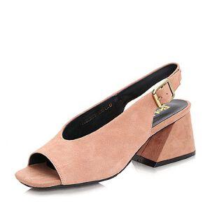Belle/百丽2017夏复古知性羊绒皮女凉鞋32502BL7