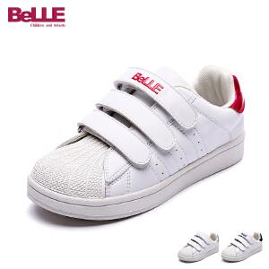 百丽童鞋2017年夏季新款小白鞋中童滑板鞋男童女童三魔术帖休闲鞋 DE0368