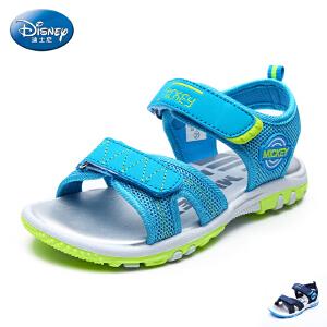 迪士尼童鞋男童沙滩凉鞋2017夏季新款小童露趾魔术贴网布儿童凉鞋