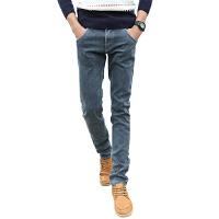 1号牛仔 男士时尚秋冬款加绒牛仔裤修身男长裤