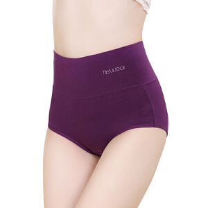 红豆女士内裤 纯棉女式纯色内裤 高腰弹力透气三角裤四条礼盒装