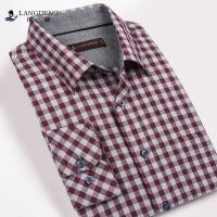 浪登男装春季新款时尚休闲男士长袖衬衫纯棉格子衬衣YH501
