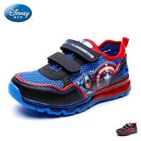 迪士尼童鞋2017夏季新款网面鞋男童单魔术贴慢跑鞋中小童卡通运动鞋灯鞋