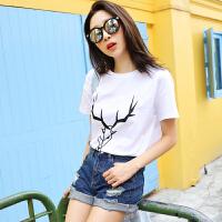 韩都衣舍2017韩版女装夏装新款宽松圆领印花短袖T恤