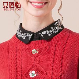 艾蓓怡新品弹力格子布翻领花卉印花棉衬衣假领女简洁PJ5046