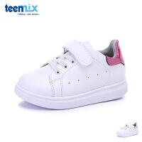 天美意童鞋女童时尚小白鞋中小童休闲白鞋经典小白鞋男女儿童魔术贴运动鞋板鞋 DX0115 DX0116