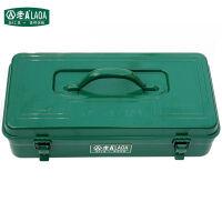 老A(LAOA)16寸加厚五金工具箱  LA113411 铁皮 家用车用方形箱 绿色