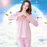 红豆居家睡衣2016新款舒适唯美可爱卡通印花女式长袖家居服睡衣套装