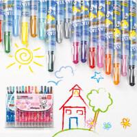 [满68包邮]得力6966儿童旋转蜡笔24色彩笔套装油画棒12色学生美术画笔宝宝涂鸦笔