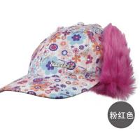 冬季男童女可爱阿拉蕾护耳棒球帽童鸭舌帽儿童冬帽子适合5-7岁