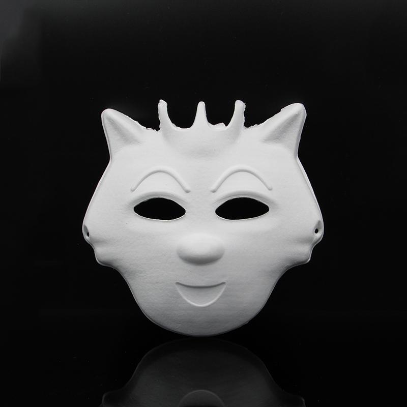 万圣节diy白色男女纸浆面具手绘脸谱面具全脸幼儿园儿童彩绘面具