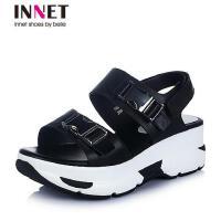 百丽旗下INNET/茵奈儿年夏季超纤女凉鞋76208BL6
