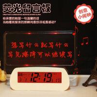 汉时钟表 创意荧光留言板520静音夜光懒人电子闹钟圣诞元旦礼物 HA37   此款闹钟闹铃声约为65-75分贝,测试仪器、测试环境均会 导致分贝值有偏差,以上数据仅供参考