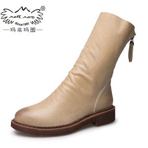 玛菲玛图2017秋冬女靴圆头女鞋后拉链中跟倒靴英伦马丁靴中筒靴子 1561-13S秋季新品
