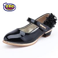 16.5cm~23cm巴布豆童鞋女童皮鞋2016春秋新款女童鞋黑色学生演出鞋绣花公主鞋