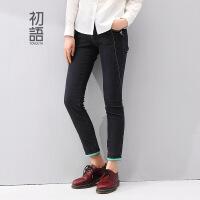 初语冬季新款 修身显瘦小脚铅笔牛仔裤女8441815023