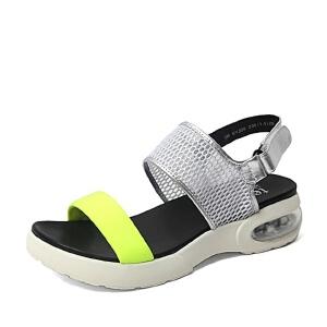 Teenmix/天美意夏季专柜同款银色/黄绿绵羊皮女凉鞋6YJ09BL6
