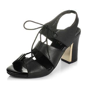 BASTO/百思图夏季专柜同款羊皮时尚粗高跟女凉鞋TD312BL6
