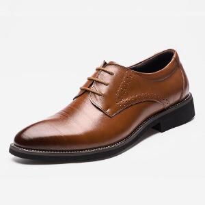2017春季新款尖头皮鞋商务休闲皮鞋男士皮鞋子单鞋系带英伦风正装皮鞋子2538BBS支持货到付款