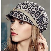 时尚女韩版潮豹纹帽子冬季呢帽小礼帽八角帽秋冬季帽子