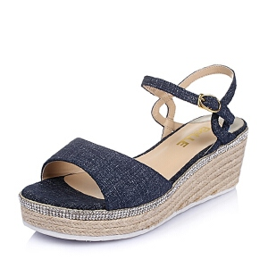 Belle/百丽夏季专柜同款二层牛皮革女凉鞋BFUB3BL6
