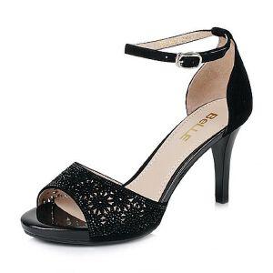Belle/百丽夏季专柜同款羊绒皮革女凉鞋Q2L1DBL6