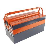 谋福 三层手提铁皮工具箱 多功能五金工具箱 居家维修电工