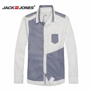 杰克琼斯春秋男士商务修身撞色拼接百搭衬衫17-2-6-213105018023