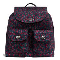 【当当自营】蔻驰(COACH)新款休闲时尚女士碎花尼龙旅行包背包双肩包女包 F59434