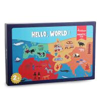 MiDeer弥鹿 世界地图磁力贴 磁性冰箱贴亲子宝宝早教认知玩具拼图