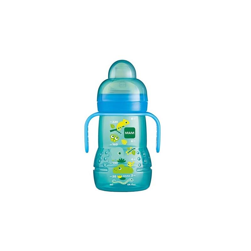 mam原装进口 宝宝两用奶瓶 婴儿奶瓶防摔 动物印花防漏饮水杯 220ml学