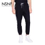 NSNF纯棉撞色织带长裤2017春夏新款