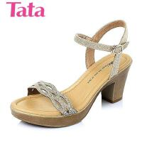 Tata/他她夏季专柜同款金布水钻粗跟女凉鞋2VP13BL6