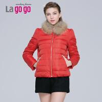 Lagogo/拉谷谷冬新款毛领拼接轻薄羽绒服女短款 EDF433G148