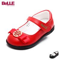 百丽童鞋儿童皮鞋2017年夏季新款宝宝单鞋婴幼童走路鞋女童公主鞋 DE5834